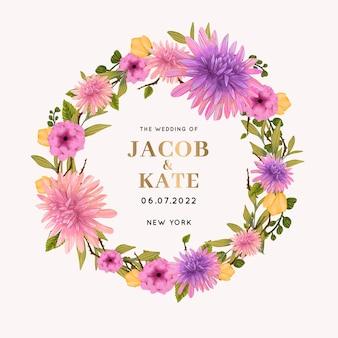 Hermoso marco floral de boda