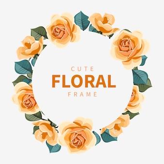 Hermoso marco floral círculo