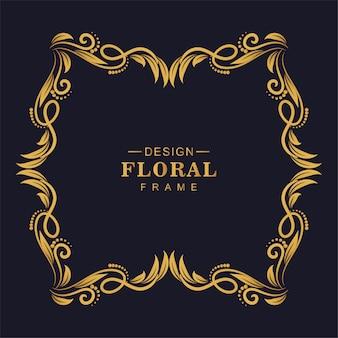 Hermoso marco floral dorado decorativo