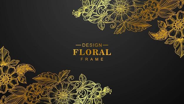 Hermoso marco floral dorado con fondo negro