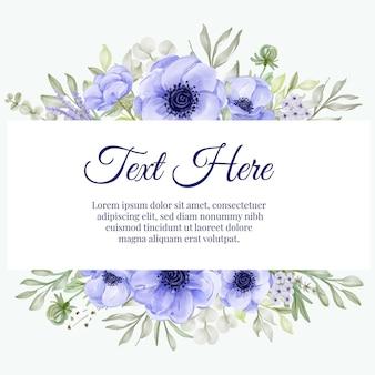 Hermoso marco floral con elegante anémona púrpura