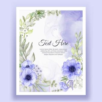 Hermoso marco floral con elegante flor anémona de color púrpura y blanco