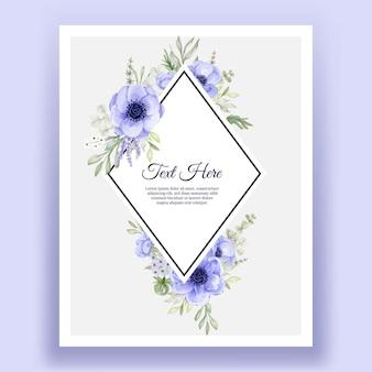 Hermoso marco floral con elegante flor de anémona púrpura
