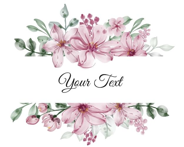Hermoso marco floral con elegante flor con hojas