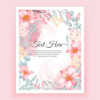 Hermoso marco floral con elegante flor rosa lirio