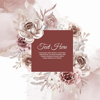 Hermoso marco floral con elegante flor de terracota
