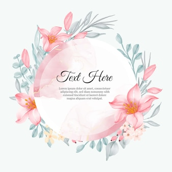 Hermoso marco floral con elegante lirio rosa