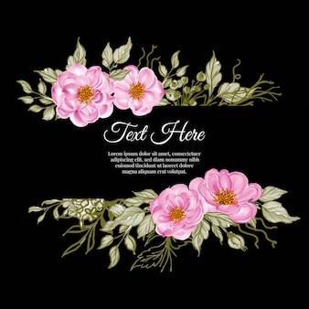 Hermoso marco floral con elegante rosa bebé