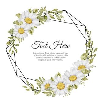 Hermoso marco floral con elegante tarjeta de flor de margarita blanca