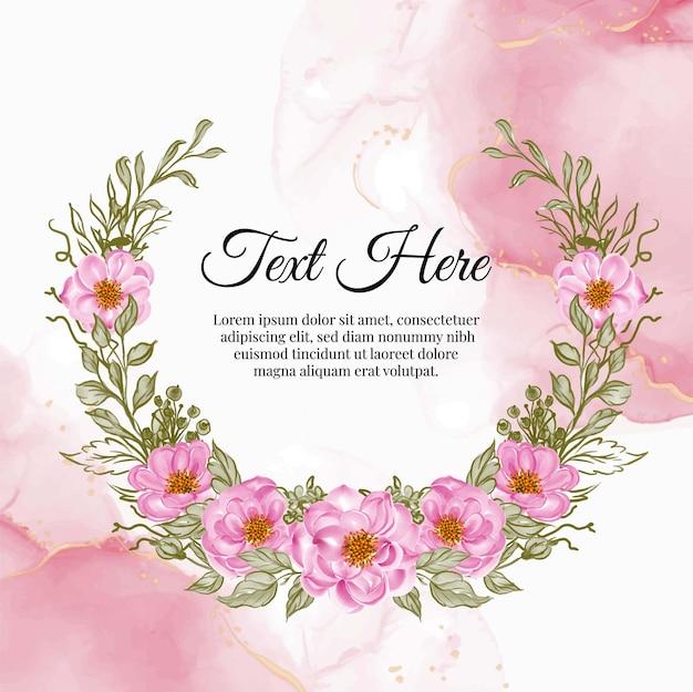 Hermoso marco floral con elegante tarjeta rosa rosa bebé