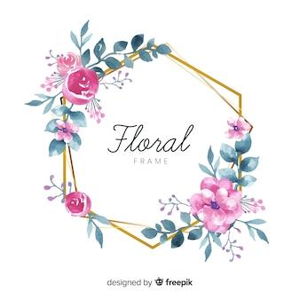 Hermoso marco floral en estilo de acuarela