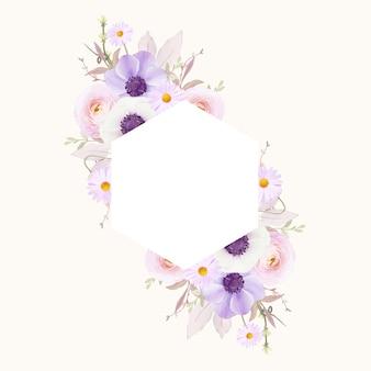 Hermoso marco floral con flor de anémonas de acuarela