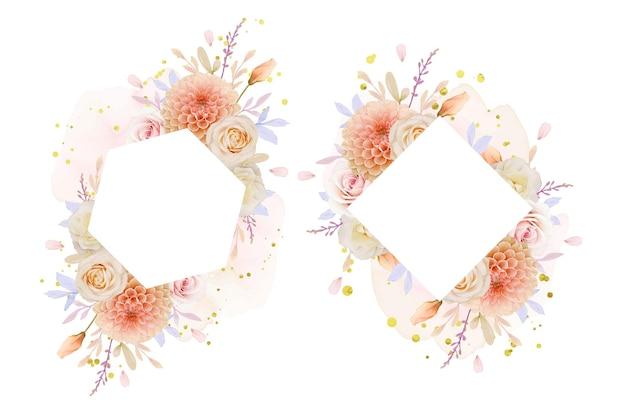 Hermoso marco floral con flor de dalia y rosa acuarela