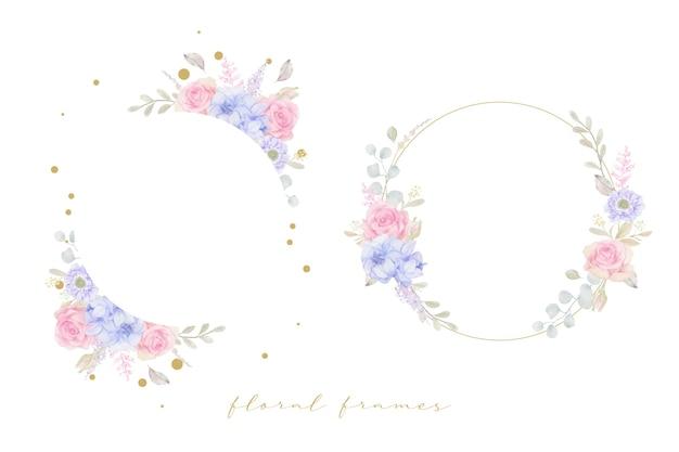 Hermoso marco floral con flores de acuarela