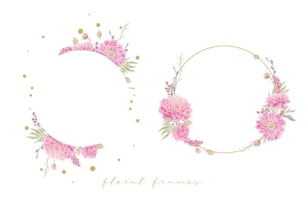 Hermoso marco floral con flores de dalias acuarela