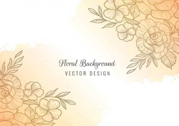 Hermoso marco floral con fondo de acuarela