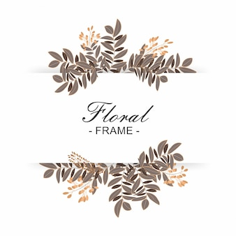 Hermoso marco floral con fondo blanco
