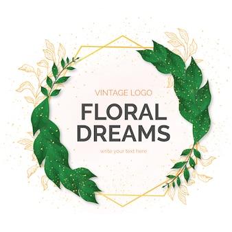 Hermoso marco floral con hojas de estilo acuarela