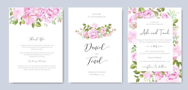 Hermoso marco floral y hojas y plantilla de fondo de boda