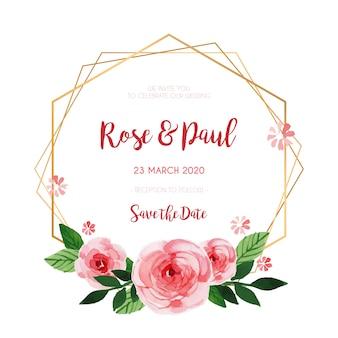 Hermoso marco floral para invitación de boda