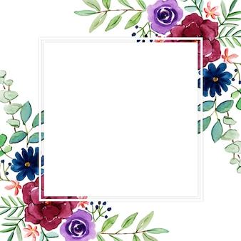 Hermoso marco floral multiusos de acuarela