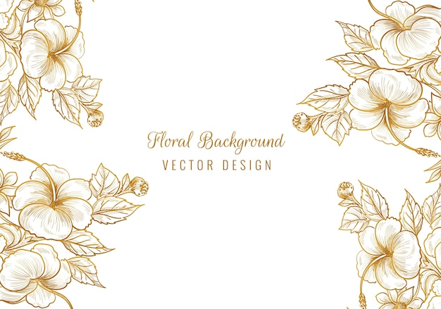 Hermoso marco floral ornamental dorado
