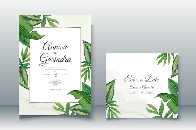 Hermoso marco floral plantilla de tarjeta de invitación de boda vector premium