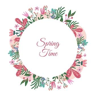 Hermoso marco floral de primavera acuarela