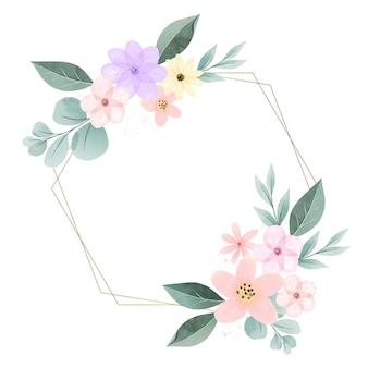Hermoso marco floral de primavera pintado a mano.