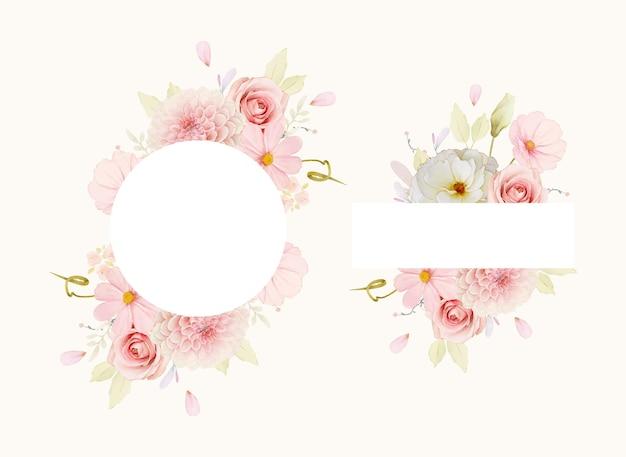 Hermoso marco floral con rosas acuarelas y dalia rosa