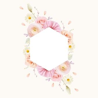 Hermoso marco floral con rosas acuarelas y gerbera