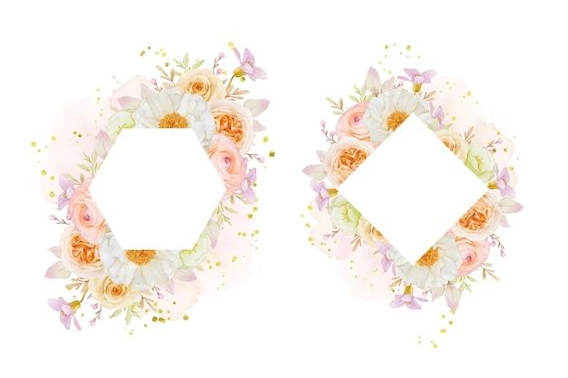 Hermoso marco floral con rosas acuarelas peonía y flor de ranúnculo