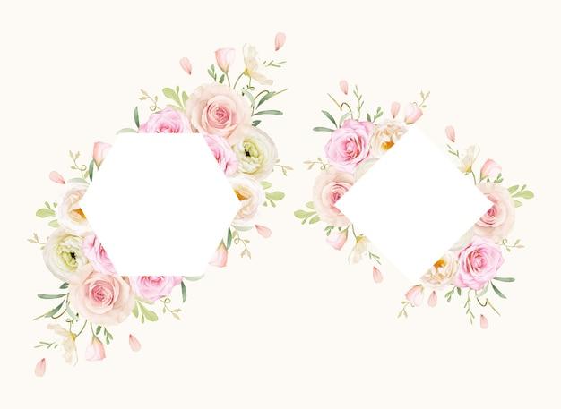 Hermoso marco floral con rosas acuarelas y ranúnculos