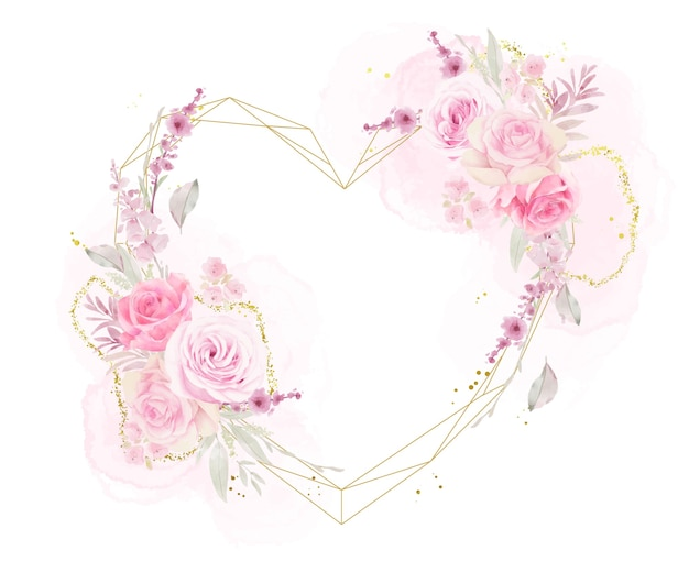 Hermoso marco floral con rosas acuarelas