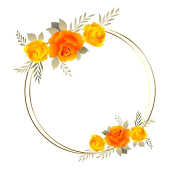 Hermoso marco floral con rosas de colores suaves