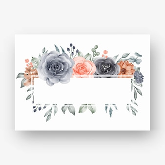 Hermoso marco de flores con acuarela flor azul marino y melocotón