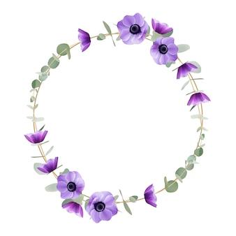 Hermoso marco con flores de anémona floral