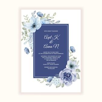 Hermoso marco de flores azules para invitación de boda
