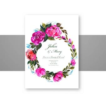 Hermoso marco de flores circulares con plantilla de tarjeta de widding