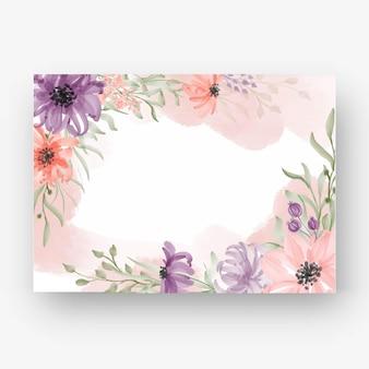 Hermoso marco de flores con flor de acuarela