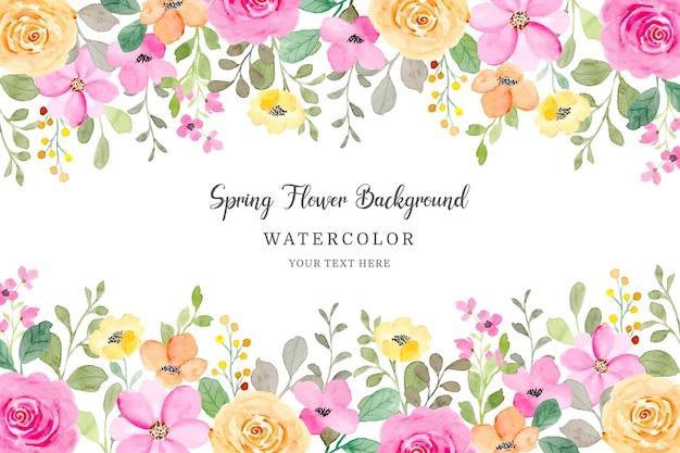 Hermoso marco de flores fondo floral amarillo y rosa con acuarela