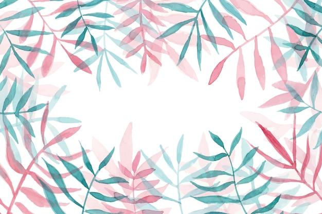 Hermoso marco de hojas de acuarela con copyspace