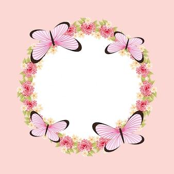 Hermoso marco de mariposa