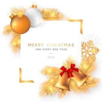 Hermoso marco navideño con decoración dorada