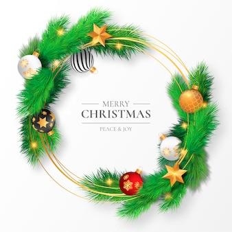 Hermoso marco navideño con ramas y adornos