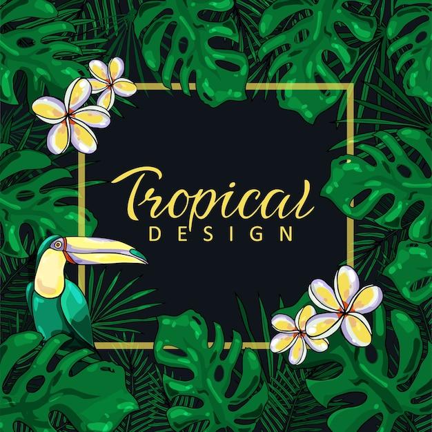 Hermoso marco tropical con hojas de hibisco, flores y tucán sobre un fondo negro.