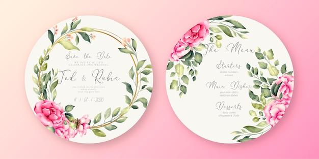 Hermoso menú de boda y plantilla de invitación
