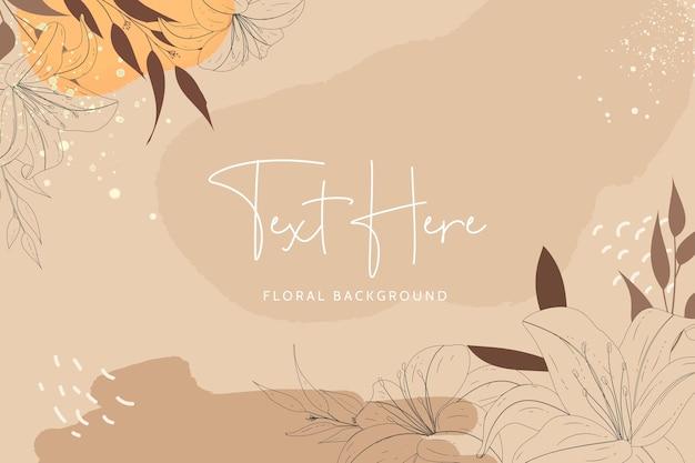 Hermoso monoline floral y hojas con fondo de color bohemio