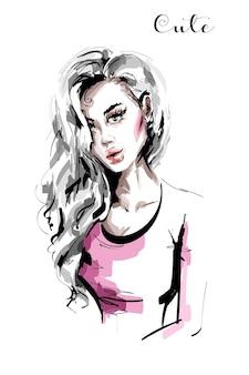 Hermoso, mujer joven, con, pelo largo