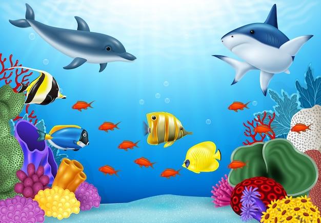 Hermoso mundo submarino con corales y peces tropicales.